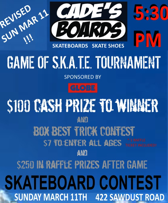 Contest rescheduled!!!! This Sunday March 11, 5:30pm